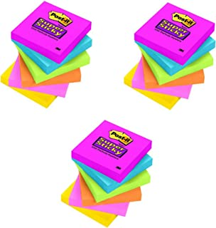 Post-it Super Sticky Notes, 2X Sticking Power, 3 x 3-Inches, Assorted Bright Colors, 1-Pad/Pack