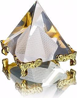Energía pirámide de curación de cristal de cristal transparente con oro soporte Feng Shui figuras de Egipto egipcio miniaturas adornos Craft (50mm)