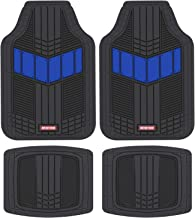 Motor Trend MTX101 Blue DualFlex All-Weather Rubber Floor Mats for Car, Truck, Van & SUV – Waterproof Front & Rear Liners with Drainage Channels & Two-Tone Sport Design