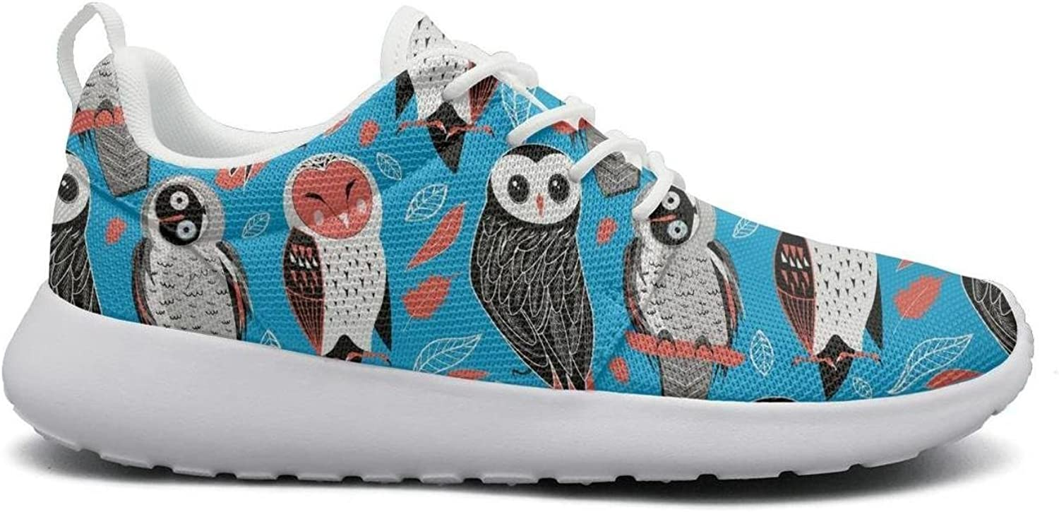 Rttyl et67u67 Breathable Sneaker Womens Ladies Fashion Valentines Owls with Fun Animals Hunting Running shoes