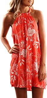 Sidefeel Women Floral Print Halter Sleeveless Beach Mini Short Dress