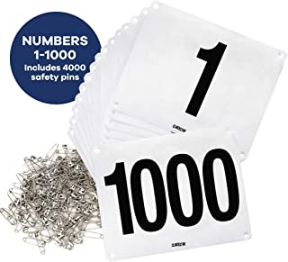 Clinch Star Running Bib Large Numbers with Safety Pins for Marathon Races and Events - Tyvek Tearproof and Waterproof 6 X 7.5 Inches