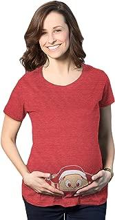 Maternity Christmas Baby Peeking Elf Funny T Shirt Holiday Xmas Pregnancy T Shirt