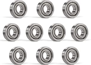 Bonbo 10Pcs R6-ZZ Bearings 3/8 x 7/8 x 9/32 inch, Double Metal Shielded,Deep Groove Ball Bearings