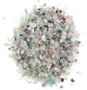 LAWEI 1 lb Natural Fluorite Tumbled Chips Stone Crushed Crystal - Quartz Crystal Crystals and Healing Stones for Making Home Decoration