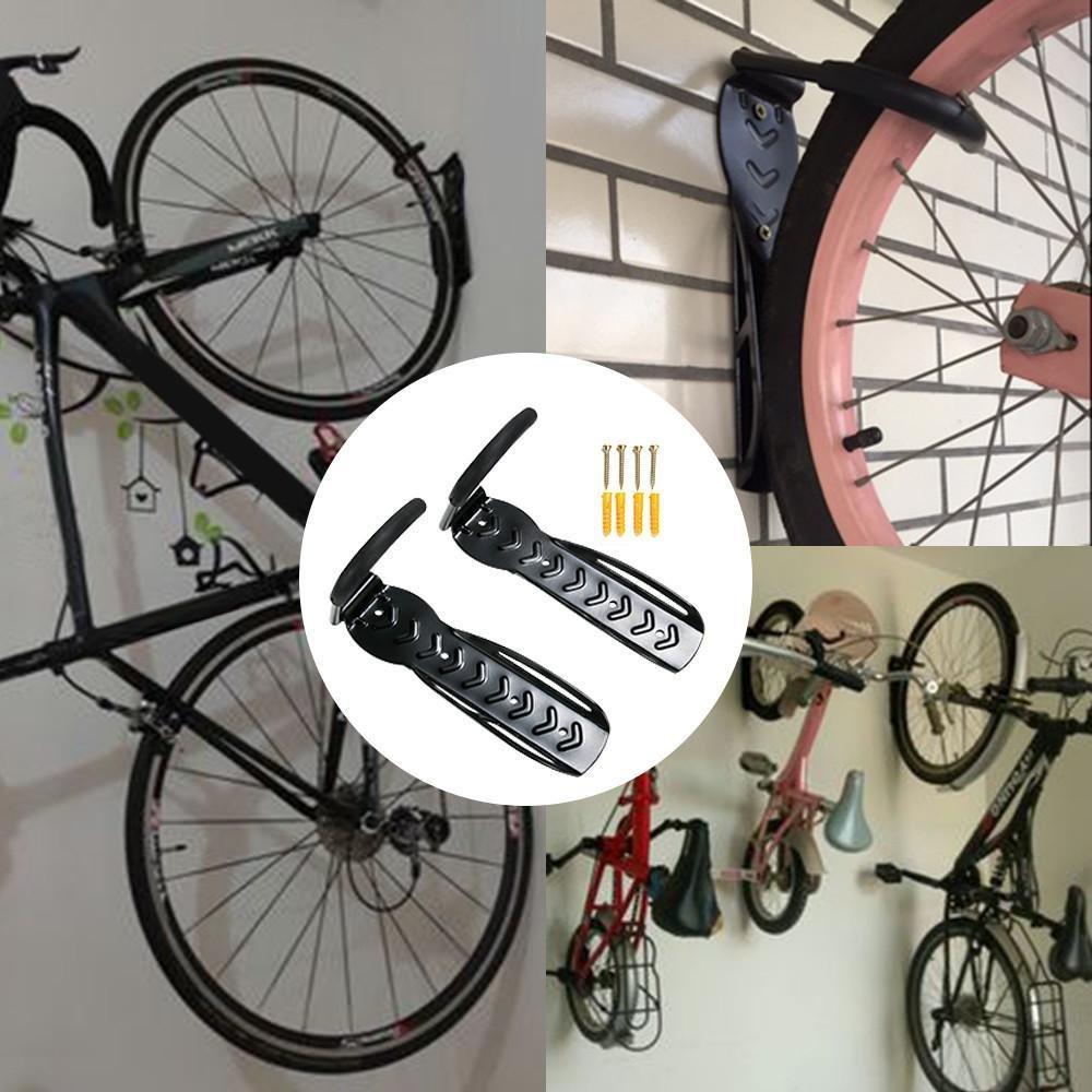 yahee 2 x SET ei-on – Soporte de pared bicicleta gancho pared retención de montaje con tornillos, color negro: Amazon.es: Deportes y aire libre