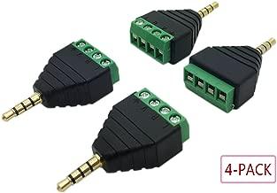 Billmill 3.5mm 4 Pole Stereo TRRS Male to AV 4 Screw Terminal Female Phoenix Block Balun Headphone Earphone Solderless Connector Adapter (4-Pack)