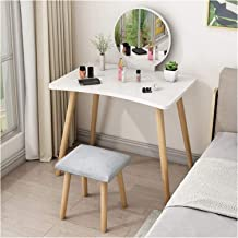 Large Elegant Makeup Dressing Table, Vanity Table Set with Mirror & Cushioned Stool, Simple Bedroom Makeup Dressing Table ...