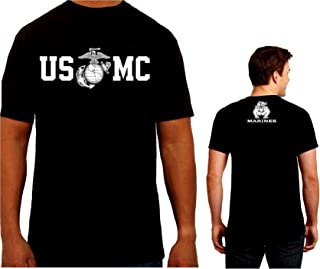 Marine Corps Men's T-Shirt Bull Dog Front and Back USMC Men's Shirt
