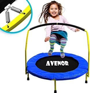 Toddler Trampoline With Handle - 36 Kids Trampoline With Handle - Mini Trampoline w/ Sturdy Frame,  Coil Spring,  Safety Padded Cover -Heavy Duty Mini Trampoline Indoor Outdoor Toddler Trampoline