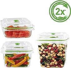 """Foodsaver FFC020X Recipientes para Envasar al Vacío """"Fresh Containers"""", 700 ml, 1,2L y 1,8L, Set de 3 Contenedores"""