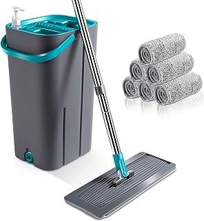 Masthome モップ フロアモップ 専門バケツ付き モップセット 手洗い不要 水拭きモップ 乾湿両用 フローリング 床掃除 家庭用 業務用 掃除用品 5枚交換パッド付き
