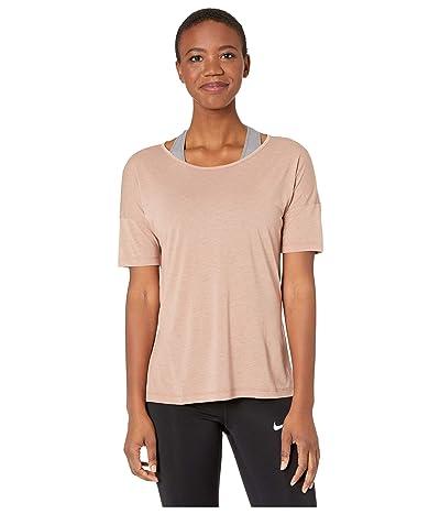 Nike Yoga Layer Short Sleeve Top (Desert Dust/Heather/Fossil Stone) Women