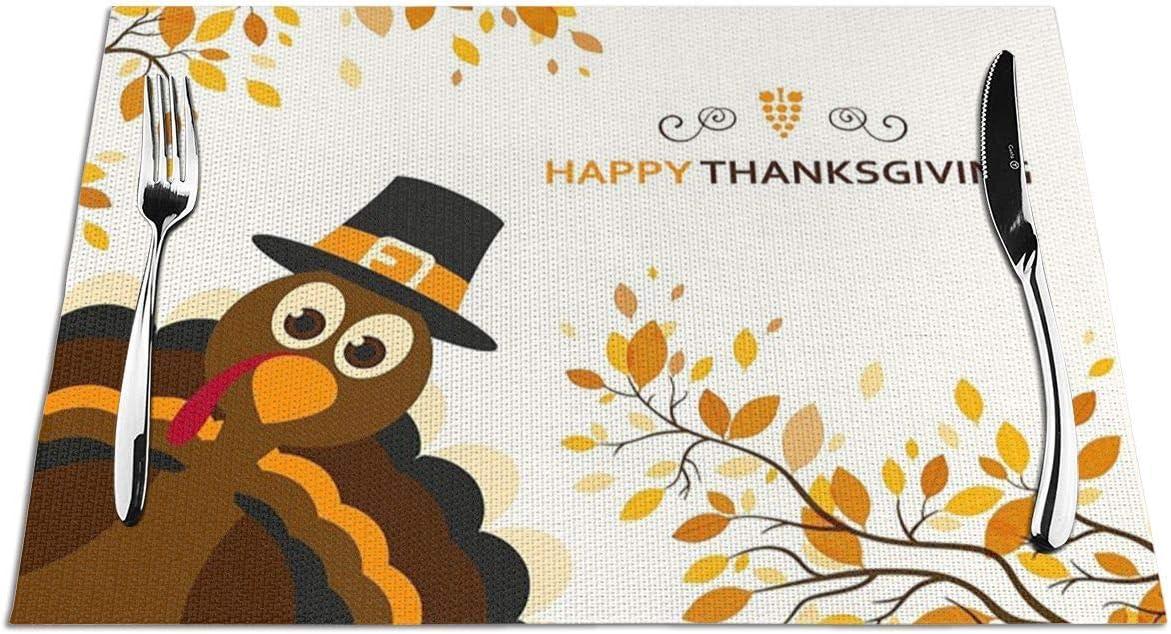 Ahuahua Placemats Happy Thanksgiving Cartoon Max 46% OFF Regular discount Turkey mat Place Se