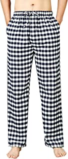 Mens Pyjama Bottoms Plaid Lounge Pants Soft Sleepwear Trousers with Pockets