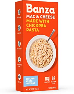 Banza Chickpea Pasta – High Protein Gluten Free Healthy Pasta – Mac & Cheese, Elbows with White Cheddar (Pack of 6)