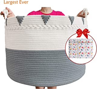 TerriTrophy XXXXLarge Cotton Rope Laundry Basket 22in x 22in x 16in Woven Laundry Hamper Blanket Storage Baskets for Towel, Toys, Diaper, Laundry Basket