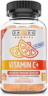 Zhou Nutrition Vitamin C+ Gummies - Rapid Immunity Booster Gummy Vitamins, Vitamin C with Bioflavonoids & Rosehips for Opt...