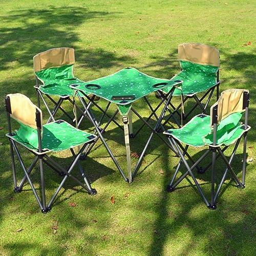 Yarmy Table Et Chaises Pliantes Portables Extérieures Costume Cinq Pièces Camping Pique-Nique Pêche Visite Autonome Conduite Renforcement Audacieux