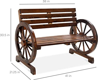 Best Choice Products 2-Person Wooden Wagon Wheel Bench for Backyard, Patio, Porch, Garden, Outdoor Lounge Furniture w/Rustic