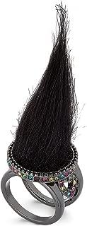 Betsey Johnson xox Trolls Black Faux-Fur Ring, Size 7