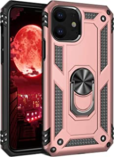 E-desire for iPhone 11 Case, Heavy Duty Military Grade Armor Hybrid Heavy Phone Case Car Ring Holder Kickstand for Apple iPhone 11 6.1 case,Rose Gold