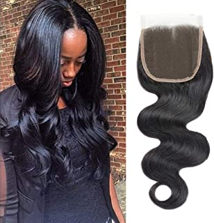 "Selina 14 inch 4x4 Free Part Lace Closure Body Wave Brazilian Human Hair 100% Unprocessed Lace Closure Natural Color for Black Women(14""Body, Free part)"
