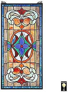 Design Toscano Stained Glass Window, Cerulean Blue Primrose, 26.5 Inch