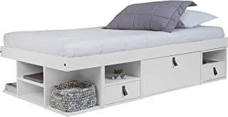 Memomad Bali Storage Platform Bed with Drawers (Twin Size, Off White)