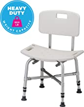 NOVA Heavy Duty Shower & Bath Chair with Back, 500 lb. Weight Capacity, Quick & Easy Tools Free Assembly, Lightweight & Seat Height Adjustable, Great for Travel