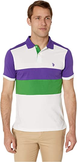 Slim Fit Chest Stripe Color Block Polo Shirt
