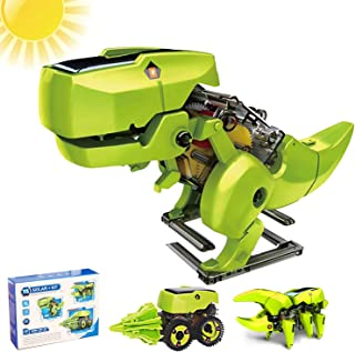 LEAMBE Solar Robot Kit 3 in 1 Educational Learning Science DIY Building Dinosaurs Toys Gift for Kids Age 8-12