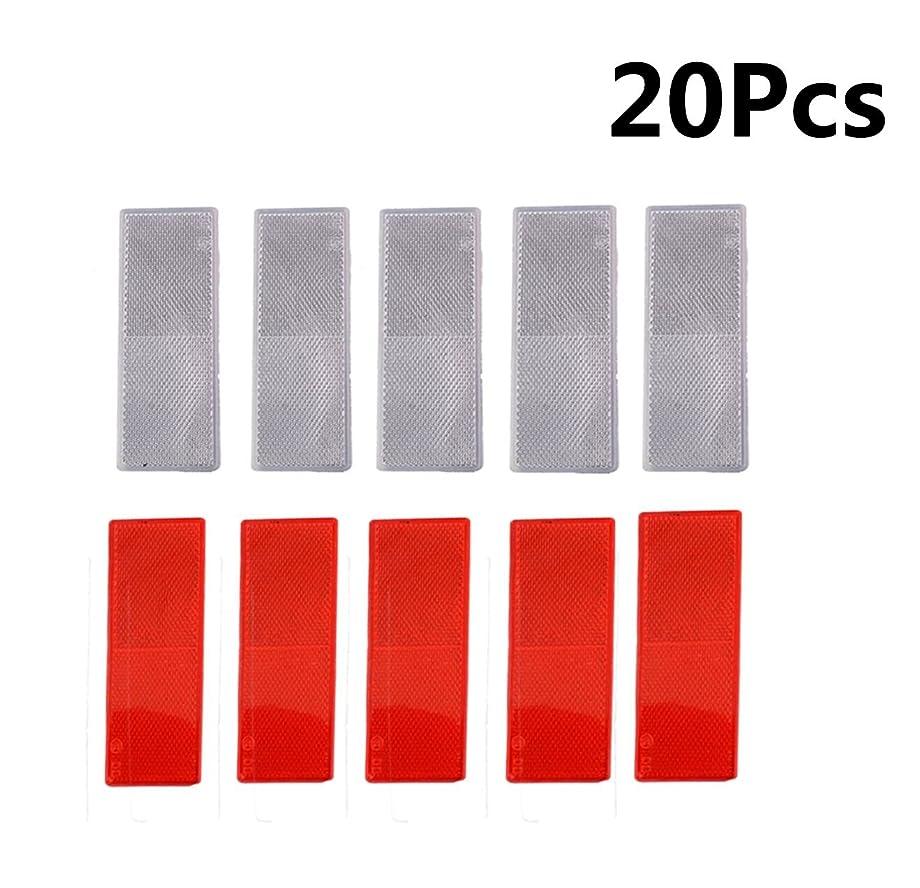 MOSA STORE Plastic Reflector Stick-on Car Reflector Sticker(10Pcs Red ,10Pcs White)