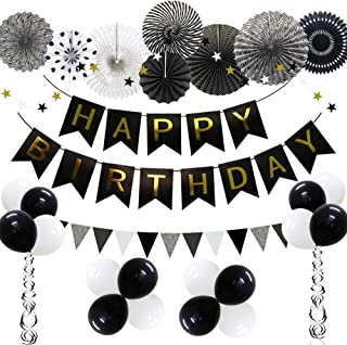 ADLKGG Black Birthday Party Decoration, Happy Birthday Banner with Balloons, Triangular Pennants, Hanging Swirls, Paper Fans, Star Paper Garland for Women Men Any Birthday Photo Props