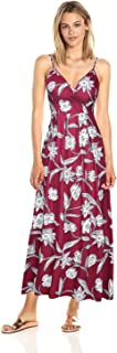 Womenโ€™s Sleeveless Floral Beach Dress V Neck Summer Maxi Dress