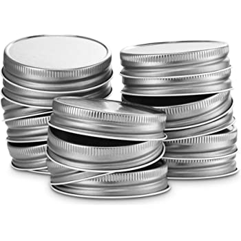 KooK Mason Jar Lids Regular Mouth, Leak Proof and Secure, Red, Gold, Silver, White, 16 pack (Silver)