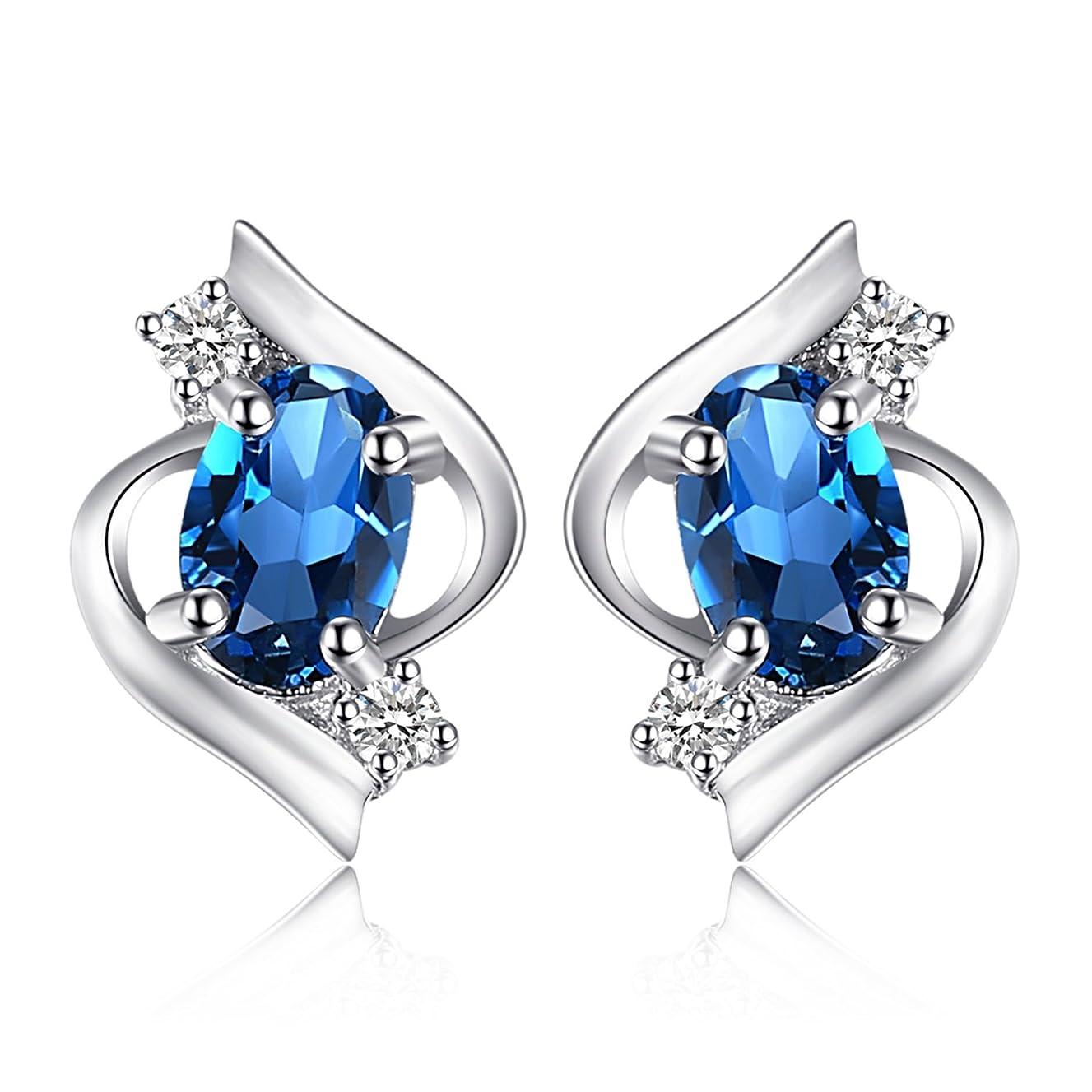 忘れられない一時停止銀JewelryPalace 女性 宝石 天然石 11月 誕生石 ロンドンブルー トパース ピアス スタッド スターリング シルバー 925 人気