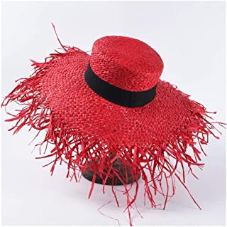 SHENTIANWEI Summer hat Female French raw Edge Lafite Straw hat Fashion Big Sunscreen Sun Visor Seaside Holiday Beach hat (Color : Red)