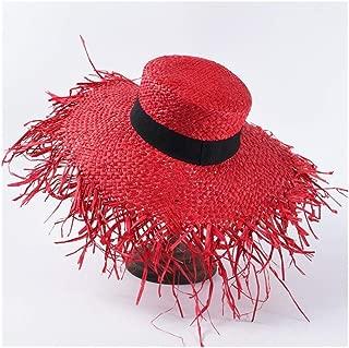 Summer hat Female French raw Edge Lafite Straw hat Fashion Big Sunscreen Sun Visor Seaside Holiday Beach hat` TuanTuan (Color : Red)