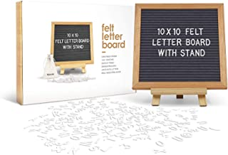 Felt Letter Board 10 x 10 Inches with Wooden Tripod Stand Classy Gray Felt 340 Changeable White Plastic Letters Gift Box P...
