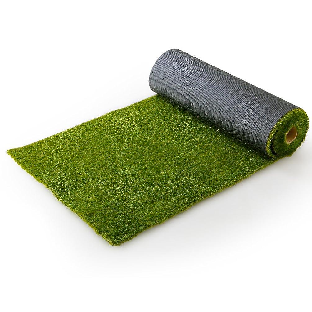 桁虫を数える敬の念LOWYA (ロウヤ) 芝生 人工芝 4種のMIX葉 リアル ロール マット 長め毛足 3.5cm U字ピン付 幅1m×10m フレッシュグリーン