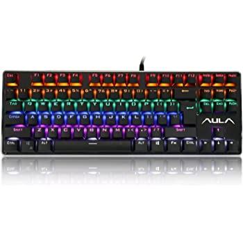 AULA F2012 Mechanical Gaming Keyboard, Water-Resistant Multicolor Backlit Gaming Keyboard with Blue Switch, 87 Anti-ghosting Keys (Black)