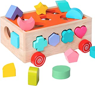 Kidus Wooden Shape Sorter Toys for Toddlers 1-3...