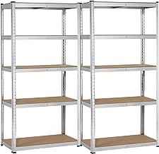 Yaheetech 2 x opbergrek 180 x 90 x 40 cm rek voor zware lasten 875 kg metalen rek 5 MDF-platen kelderrek werkplaatsrek