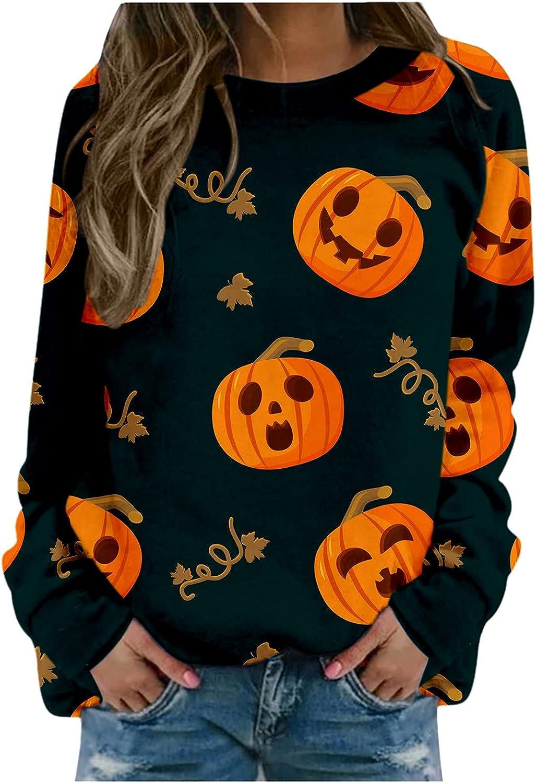 2021 Halloween Sweatshirts for Women Pumpkin Bat Printed Crewneck Long Sleeve Loose Casual Shirts Tunic Tops Tees Sweater