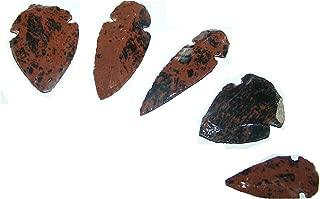 Mahogany Obsidian Arrowhead - Hand Knapped (Set of 5 Reddish Maroon / Black Mahogany Obsidian Stone Arrowheads)