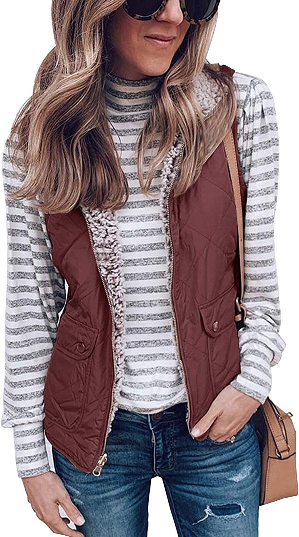 SENSERISE Womens Warm Sherpa Fleece Zip Up Reversible Vest Sleeveless Lightweight Jacket Outwear with
