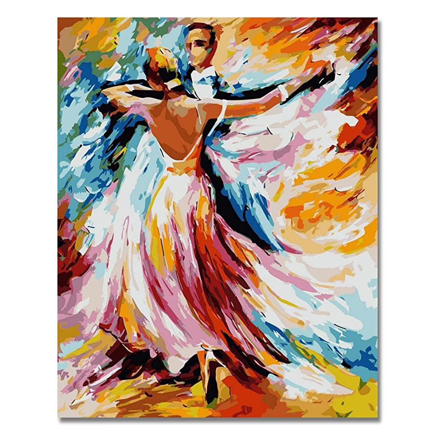 LIUDAO Paint by Numbers Kits for Adults Kids 16x20 Inches Without Frame Oil Painting -Dancing Lover