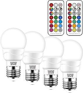 Bombilla LED Colores 5W Equivalente 50W, RGBW Bombilla LED E27 Regulable Cambio de Color, Blanco Cálido 2700K, 500Lm, 12 RGB Colores con Control Remoto (Pack de 2)