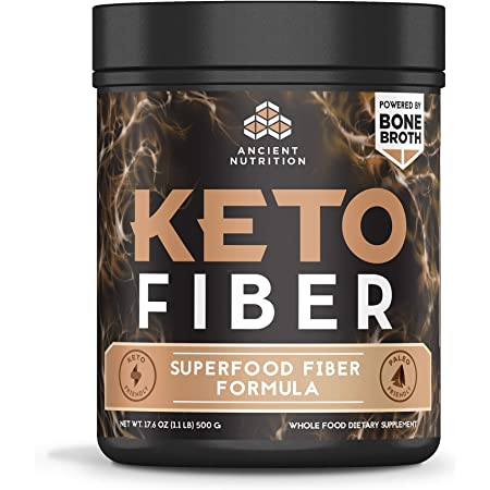 Ancient Nutrition KetoFIBER Powder, 17 Servings - Keto Diet Supplement, Low-Carb High-Fiber Superfood Plant Based Blend